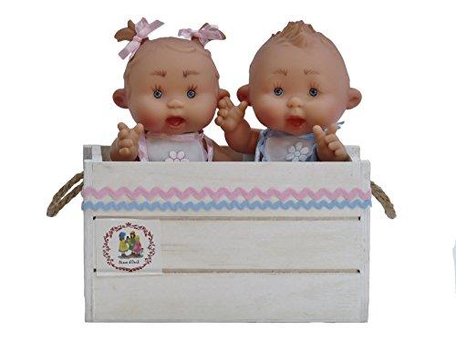 Nines Artesanals d'Onil - Pareja de bebes en caja de madera de regalo (9742)
