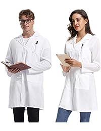 Abollria Camici da Laboratorio per Donna e Uomo Bianca Camicia Lunga Unisex  Cappotto Sanitari per Studenti di Scuola 94b83e176fe4