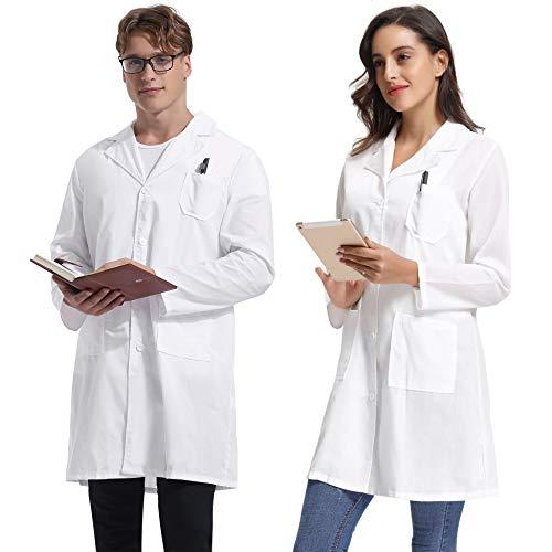 Kittel Weiß Damen Herren Laborkittel 100% Baumwolle Arzt Kostüme Apotheker Mantel Reverkragen mit Taschen 7 Größe(XS-3XL)