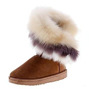 yunhou Damen Plus Dicken Boden Stiefel Kurze Röhre Schnee Stiefel Volltonfarbe Wildleder Plüsch Stiefel Winter Komfortable Wasserdichte Anti-Rutsch-Outdoor-Freizeit Schneeschuhe