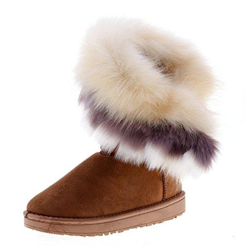 Hibote Damen Winter Schnee Stiefel - Warm Gefütterte Winter Stiefeletten Schlupfstiefel Boots Pelz Stiefel Schneestiefel Gr.36-40 - Warme Stiefel Schnee