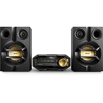 Philips FX10 Mini Hi-fi Bluetooth con Porta USB, Lettore CD/MP3, Connessione TV, Sintonizzatore FM, 230 W, Nero