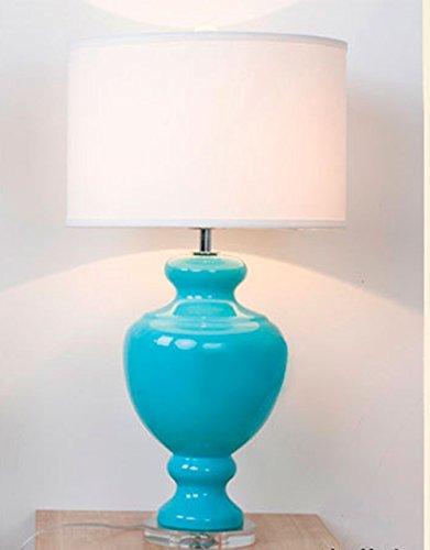 MDRW-Nachttischlampe Ideen moderne Schlafzimmer Lampe dekorative Lampe Glas Wohnzimmer Tisch Tischleuchte,See-Blau (See-glas-tisch-lampe)