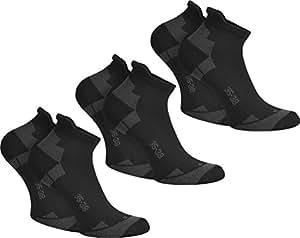 3 Paar normani® Coolmax® Sport Sneaker Socken - Laufsocken mit klimaregulierender Faser in Schwarz oder Weiß Farbe Schwarz Größe 39-42