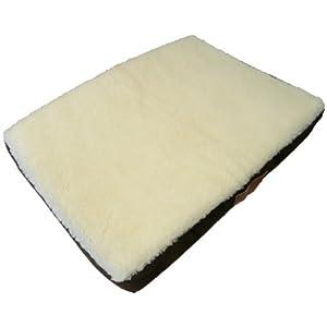 Ellie-Bo Hundebett, orthopädisch, Matratze aus viskoelastischem Kaltschaum / Memory-Schaum, Bezug aus Velourslederimitat / Schaffell, 76cm, braun