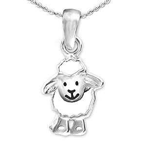 CLEVER SCHMUCK Set Silberner kleiner Anhänger Schaf lustig lachendes Gesicht weiß und schwarz lackiert glänzend sowie Kette Anker 42 cm STERLING SILBER 925 im Etui