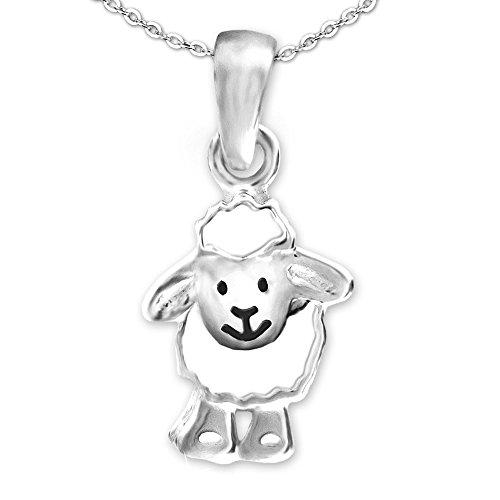 CLEVER SCHMUCK Set Silberner kleiner Anhänger Schaf lustig lachendes Gesicht weiß und schwarz lackiert glänzend sowie Kette Anker 42 cm STERLING SILBER 925 im Etui - Lamm-fan
