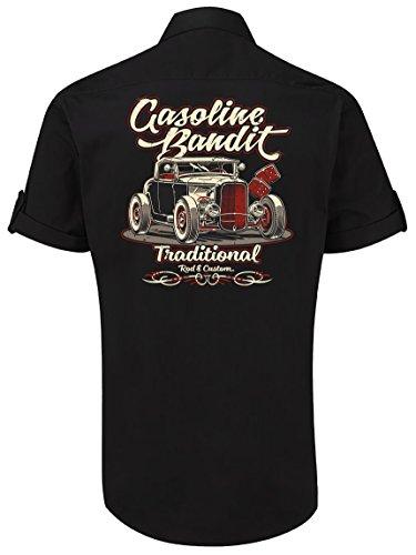 GASOLINE BANDIT® Rockabilly Worker-Hemd Kurzarm, Original Design: Hot Rod Traditional Größe M