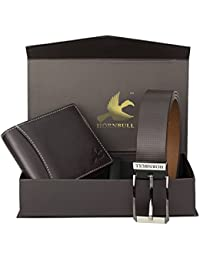 Hornbull Men's Brown Wallet and Brown Belt Combo BW4595