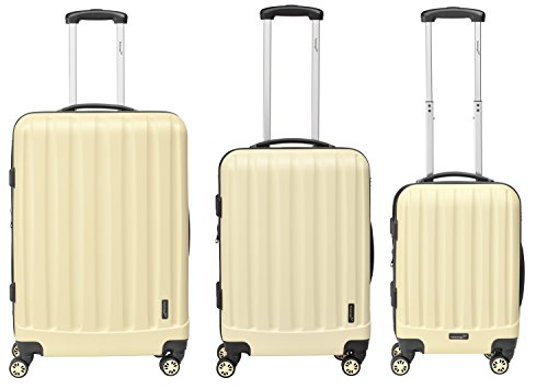 Packenger Kofferset - Velvet - 3-teilig (M, L & XL), Cafe-au-Lait, 4 Rollen, Koffer mit TSA- Schloss und Erweiterungsfach, Hartschalenkoffer (ABS)
