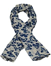 Lily Blue Butterfly Print Scarf in Beige