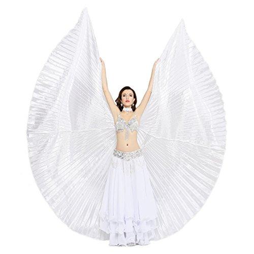 Dance Fairy Seidenimitation Bauchtanz Isis Flügel Karneval Weihnachten Kostüm,Weiß(mit Stöcke/Sticks)