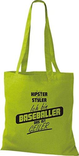 Shirtstown Stoffbeutel du bist hipster du bist styler ich bin Baseballer das ist geiler kiwi
