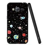 ZhuoFan Coque Samsung Galaxy J3 2016, Etui en Silicone Noir avec Motif 3D Fun Fantaisie Dessin Antichoc TPU Gel Housse de Protection Case Cover Coque pour Téléphone SamsungJ3 SM-J320fn, Étoiles Ciel