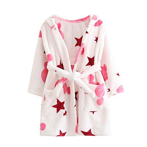 Echery unisex vestaglia ragazzi ragazze con cappuccio accappatoio morbido di corallo pigiama in pile camicia da notte pigiameria