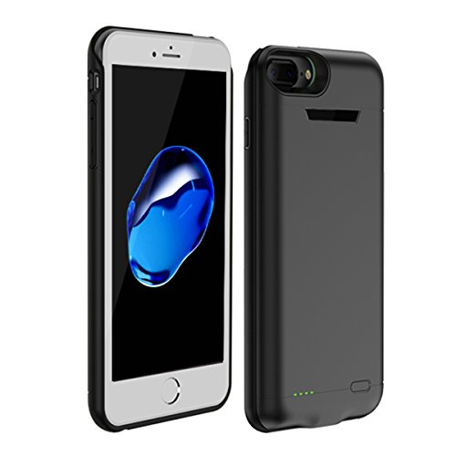 BasicStock iPhone 6 Plus / 6s Plus/iPhone 7 Plus / 8 Plus Akku Hülle, 7500mAh Ersatzakku Case Externe Batterie Akkuhülle Backup Powerbank Schutzhülle Ladegerät Battery Case (Schwarz)