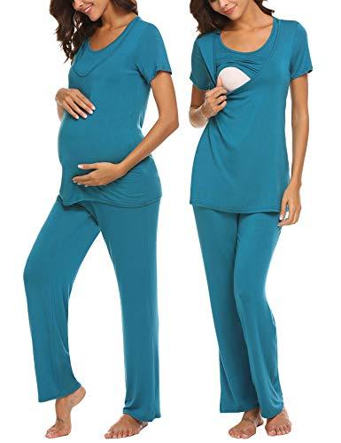 Blauer Umstandspyjama mit Stillfunktion lang mit kurzen Ärmeln