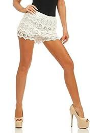 65b40418508e2d Fashion4Young 4335 Damen Shorts Hotpants Spitze Double-Layer Gummizug Party Kurze  Hose Clubwear