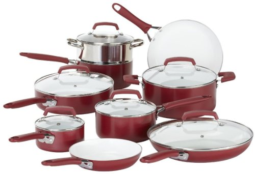 WearEver C943SF63 Pure Living Nonstick Ceramic Coating PTFE-PFOA-Cadmium Free Dishwasher Safe 15 Piece Cookware Set, Red