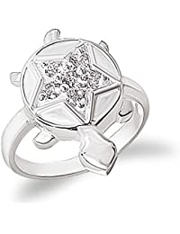 MJ 925 Star CZ Carved Good Luck Tortoise/Turtle Finger Ring in Pure 92.5 Sterling Silver