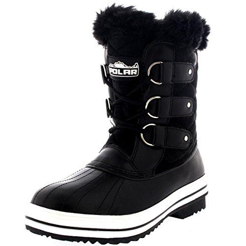 Polar Damen Schnee Stiefel Nylon Short Schnee Pelz Regen Wasserdicht Stiefel - Schwarz Wildleder - BLS39 AYC0016 (Schnee Stiefel Wildleder)