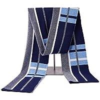 Bufanda de cachemira de invierno para hombres Bufanda de punto suave Bufanda de punto suave y cálida (Color : Azul-Onesize)