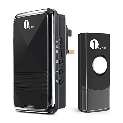 1byone-easy-chime-wireless-doorbell-door-chime-kit-1-plug-in-receiver-1-push-button-with-cd-quality-