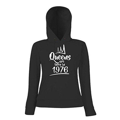 Queens are born in 1976 Hoody   Geburtstags-Hoody   Jahrgang   41. Geburtstag   Frauen   Kapuzenpullover Schwarz