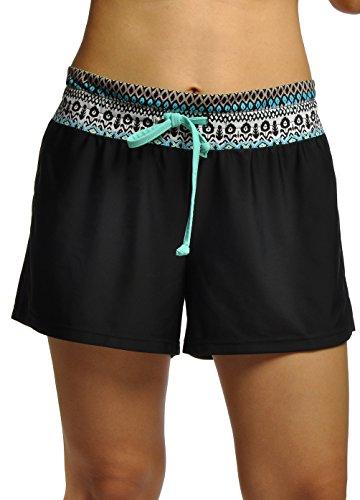 OUO Women's Casual Boy Leg Swim Shorts Mini Swim Shorts Printed Waist - Black