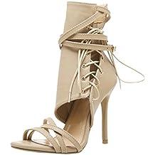 Calzado Chancletas Tacones Sandalias de Mujer Roman Hebilla Correa Zapatos  Sexy Sandalias de Tacones Altos Botines 740ccdbc6ad