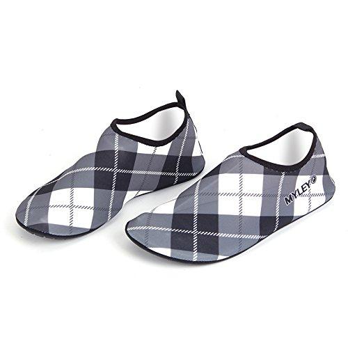 neeiors Grid Style Grid Style faltbare Wasser schwimmen Strand Schuhe für Damen und Herren Grau
