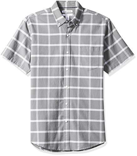 Amazon Essentials Regular-Fit Short-Sleeve Windowpane Pocket Shirt Freizeithemd, Grau (Grey Gre), US S (EU S) -