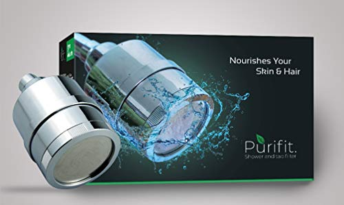 PURIFIT Shower Head Filter for Hard Water & Chlorine Removal (Silver)
