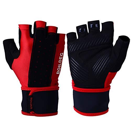 Huide Frau Gewichtslinfting Handschuhe Wrist Wrist Wraps Lifting Palm Silikon Slip Wrist Wrist Wraps Body Building Powerlifting Breathable Wrist Support Strength Cycling (A Pair),M Thinsulate-slip