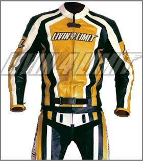 Motorrad Lederkombi 4LIMIT Sports LAGUNA SECA Motorradkombi Zweiteiler gelb-schwarz-weiß