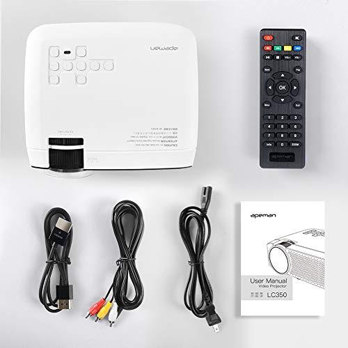 41yQesthIkL - Proyector APEMAN Mini Portátil Proyector de Cine en Casa 3800 Lúmenes Altavoces Duales Incorporados 50000 Horas Soporte HD 1080P HDMI/USB/VGA/AV/Micro SD (Incluye HDMI/AV/Cable de Alimentación)