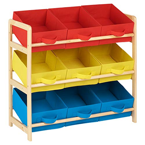 Hartleys Aufbewahrungsmöbel mit 3 Etagen und 9 Aufbewahrungsboxen aus Gewebe - Gelb, Blau und Rot