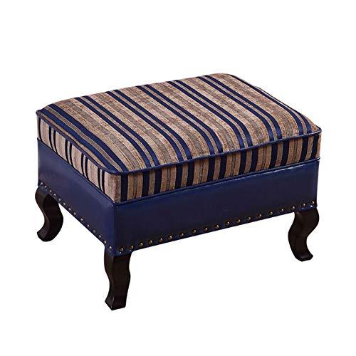 JiaQi Sitzhocker Bank,Dauerhaft Fußhocker,Home Sitzhocker hocker Quadratische Hölzerne Sofa hocker Einfache Leder Osmanische fußstütze-D 70x45x40cm(28x18x16inch)