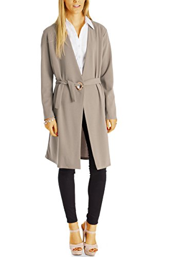 Bestyledberlin Damen Cardigan, Lange Loose Fit Jacken / Elegante Wickelkleider, Maxikleider t61z taupe (Low-cut-tiefer Top V-neck)