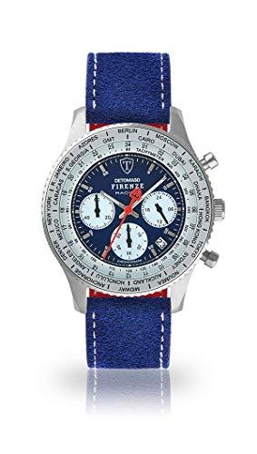 DETOMASO Firenze Racing Herren-Armbanduhr Chronograph Analog Quarz silbernes Edelstahlgehäuse Blaues Zifferblatt (Leder - Blau (Naht: Weiß) II)