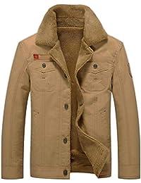 GITVIENAR Herren Winterjacke,Hochwertiges Kunstleder Lederjacke Parka Mantel  mit Fell warme Mens Jacket gefüttert 429ce79b99