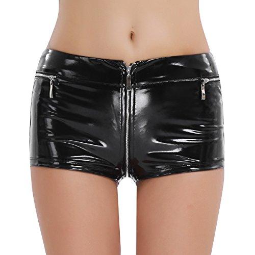 otpants Metallic Kurze Hose Leder Booty Shorts glänzend Enge Leder Hose Gogo Ouvert Dessous Unterhose Schwarz kurz L ()