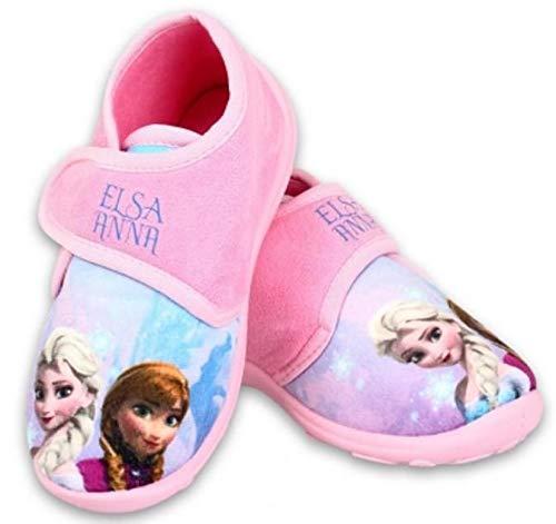 Disney Frozen Hausschuhe Eiskönigin Mädchen Schuhe mit Klettverschluss (Rosa, 24)