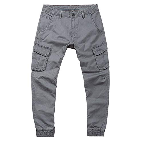 Mens Fashion Pure Color Multi Pocket Lässige Baumwollhose Overall Bleistift Hose Lässige...