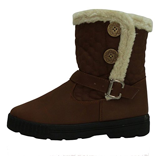 s2m-womens-quilted-faux-fur-lined-2-button-button-ladies-fashion-snow-warm-winter-ankle-boot-brown-u