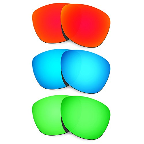 HKUCO Mens Replacement Lenses For Oakley Frogskins Sunglasses Red/Blue/Emerald Green Polarized