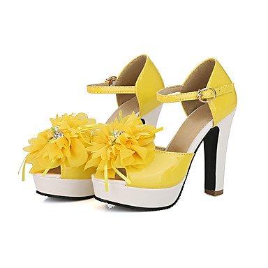 Talloni delle donne Primavera Estate Autunno Altro similpelle ufficio & carriera di feste ed abito da sera tacco grosso strass Fiore Giallo Verde Arancione Yellow