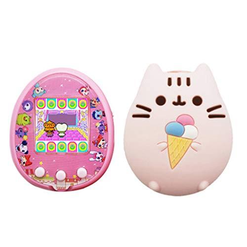 deng xuna versione aggiornata macchina da gioco portatile virtuale per animali domestici, tamagotchi, sviluppa un gioco, giocattolo educativo schermo a colori hd, con custodia protettiva (rosa)