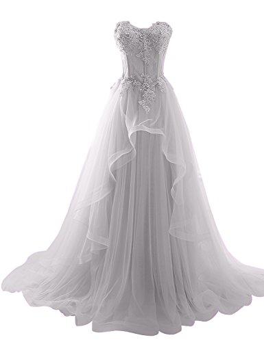 Sarahbridal Damen Bandeau Tüll perspektive Ballkleid Hochzeitskleid Brautkleid Abendkleider elegant...