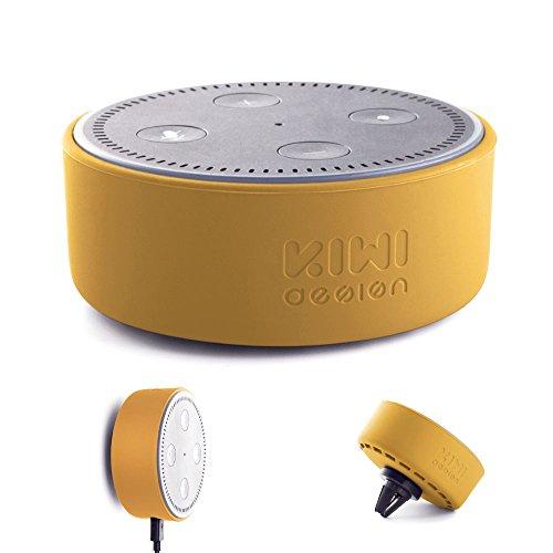 Halterung Wandhalterung für Dot 2, mit Universal Halterung Magnet und Kfz Halterung Magnet Lüftung für Echo Dot und Smartphone von Kiwi Design (Silikon, Gelb)